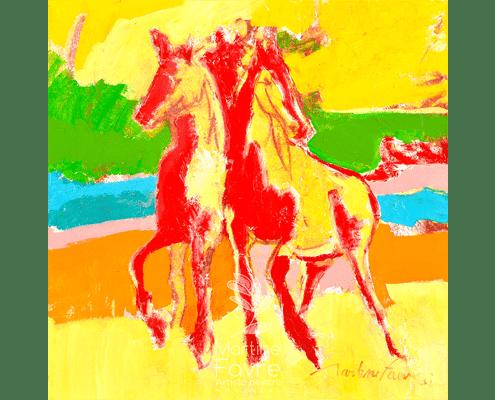 martine-favre-artiste-peinture-jaune-rouge-vert-bleu-cheval-couleurs-vif