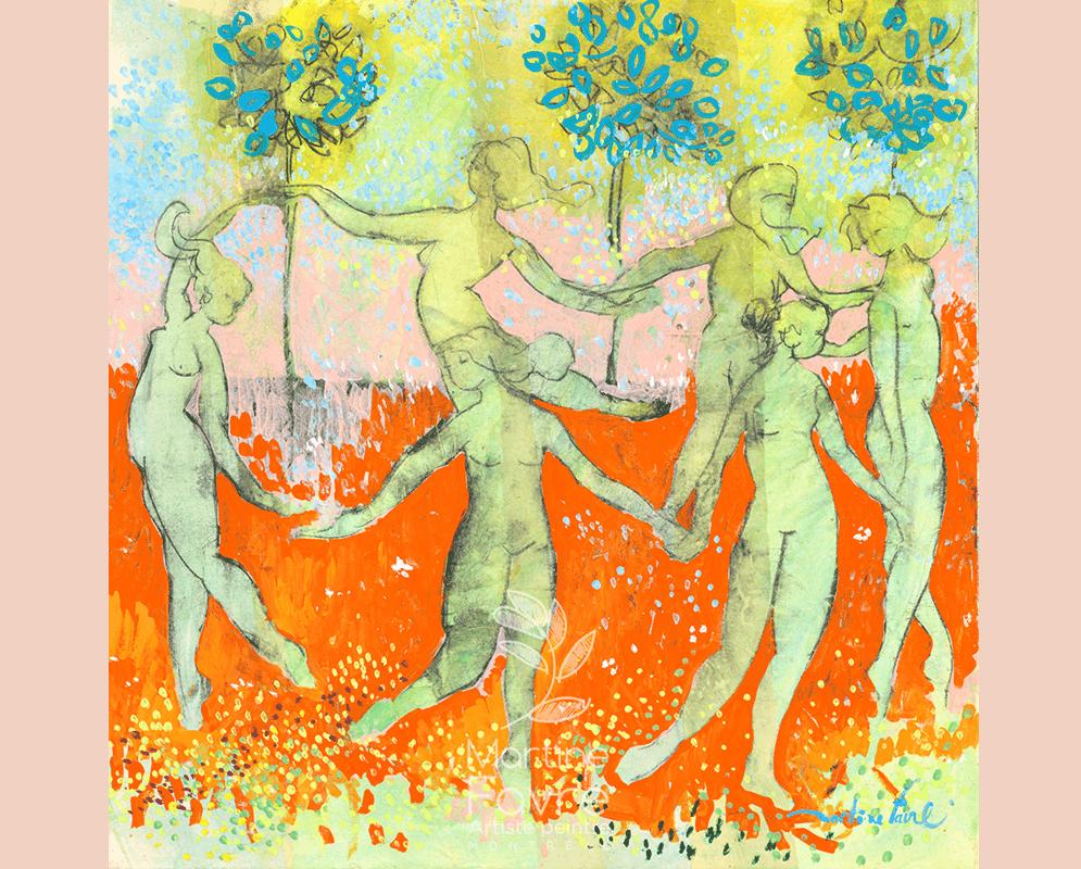 Peinture Femmes se tenant par la main formant une ronde