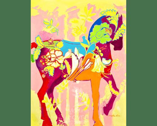 Peinture Cheval coloré position verticale