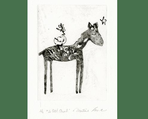 martine-favre-artiste-gravure-croquis-carte-souhaits-poney-lune-etoiles
