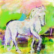 cheval blanc, princesse, licorne, carte, affiche, artiste, montreal, décor, mural
