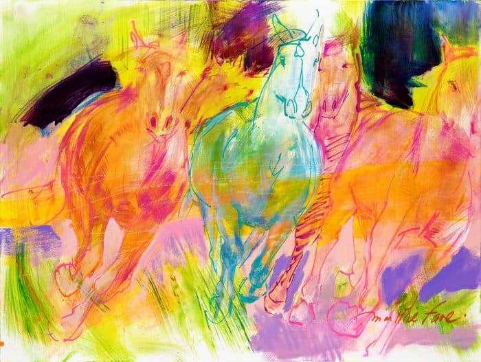 cheval, galop, carte, affiche, artiste, montreal, couleur, peinture