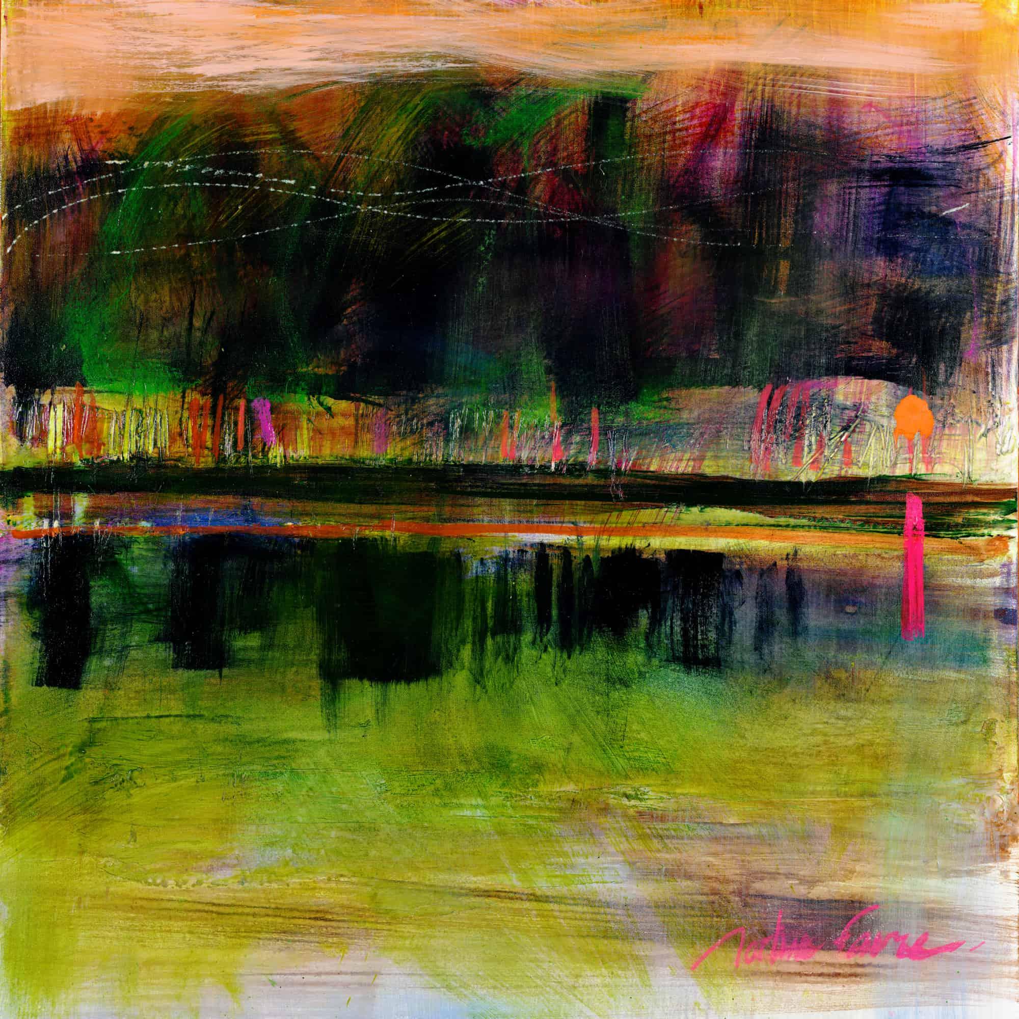 paysage, bord de l'eau, boucherville, artiste, montreal, favre, affiche, galerie, coloré