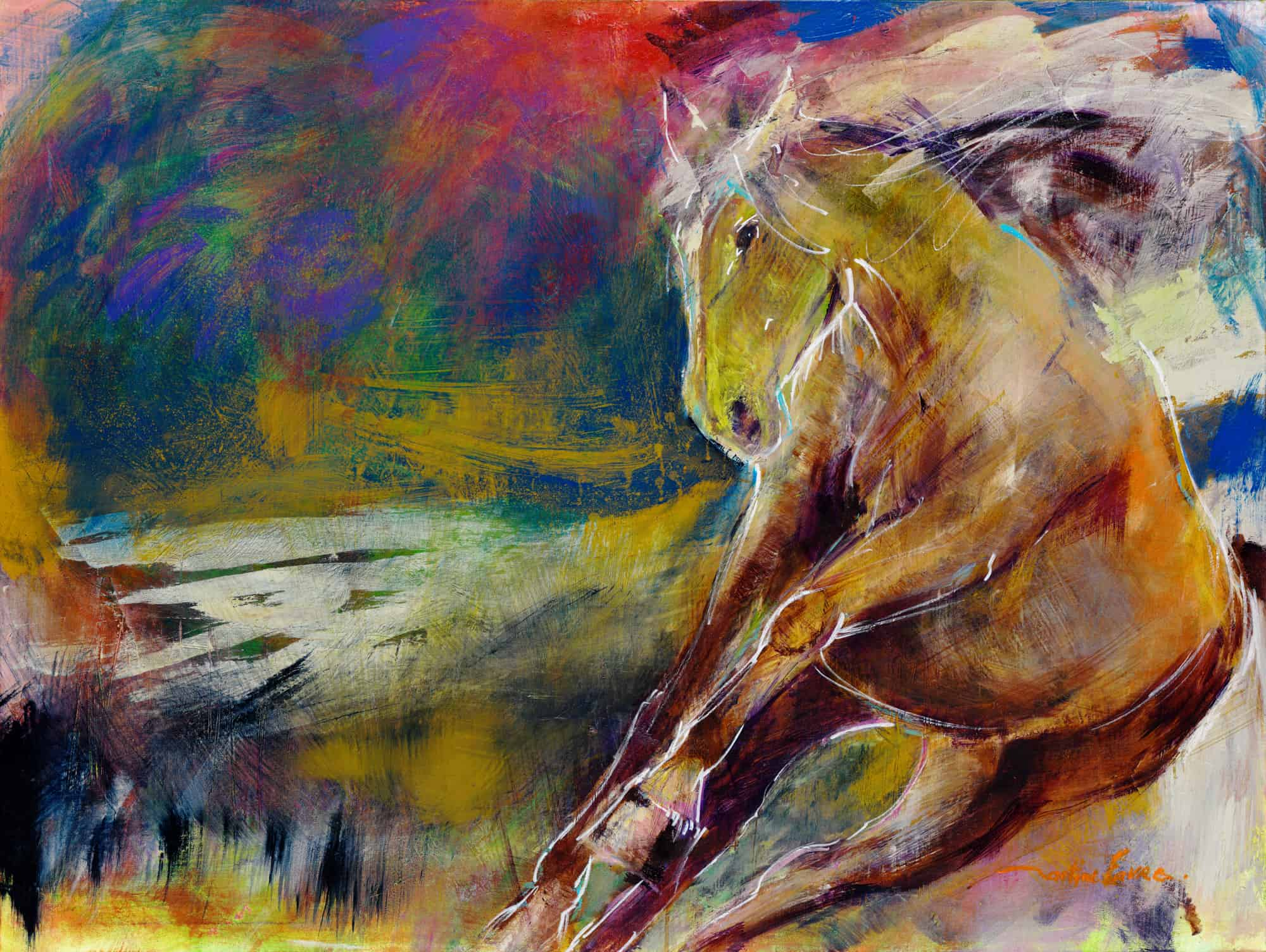 cheval, galop, terre, vision, poster, affiche, carte de souhaits, tableau
